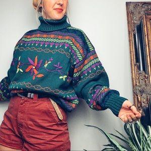 Vintage Chunky Floral Ski Sweater